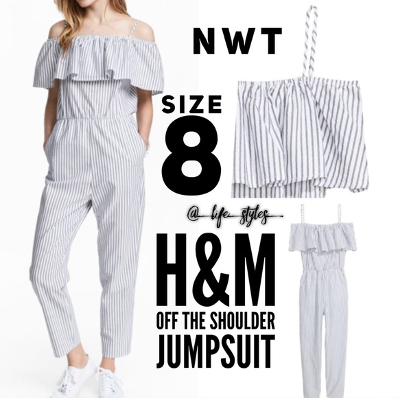 78e16c649f8 NWT H M Off The Shoulder Ruffle Jumpsuit Size 8
